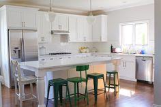 White kitchen, green stools, Island
