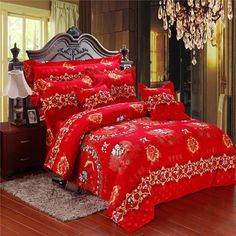 wedding bedding sets,cotton Jacquard satin embroidered comforter sets,festive red bed sheets marry romantic love duvet cover-in Bedding Sets