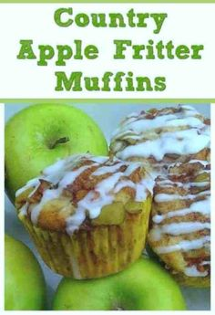 Country Apple Fritter Muffins Fluffy buttery white cake muffins loaded with chunks of apples and layers of brown sugar and cinnamon swirled inside and on top Simply Irre. Apple Fritter Bread, Apple Fritters, Muffin Recipes, Apple Recipes, Apple Desserts, Homemade Desserts, Fall Desserts, Sweet Recipes, Yummy Recipes