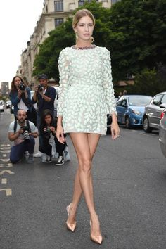 Elena Perminova in Giambattista Valli couture dress / street style