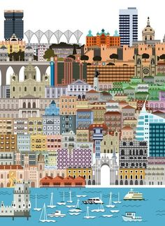 Lisboa Poster by illustrator Tiago Albuquerque.