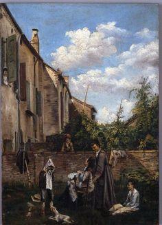 Giovanni Boldini (Italian, 1842-1931) - Il cortile della casa paterna - 1855 - Ferrara, Museo Giovanni Boldini