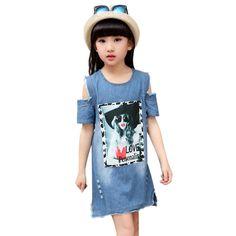 453173f3863 Girls Denim Blue Strapless Dress 2018 Summer Princess Children Casual Skirt  Kids  Wear Pattern Design For Girls Clothes