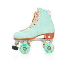 Moxi Teal Roller Skates ($420) ❤ liked on Polyvore featuring shoes, skates, roller skates, fillers and teal