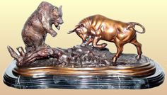 Fighting Bull and Bear Sculpture in Bronze Available at AllSculptures.com