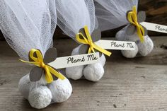 Eco Friendly Seed Bomb Wedding Favors made with Grey Paper Hydrangea Flower and Yellow Ribbon  Yellow and Grey Wedding