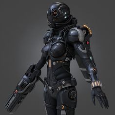 3d model of female cyborg
