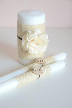 Personalized burlap inspired wedding unity candle set on Etsy, $35.00