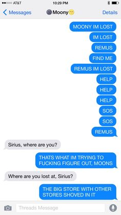 Drarry & Wolfstar Texts! — Sirius gets lost in a mall and Remus comes to find...