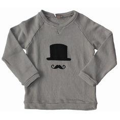 Sweater moustache grijs - Emile & Ida