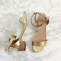Jcrew gold metallic leather ankle strap sandal Like new jcrew gold metallic leather ankle strap sandal. Only worn a two times for photo shoots. Genuine leather and made in Italy. No rips, stains, etc. J. Crew Shoes Sandals