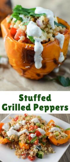 These stuffed peppers are cooked on the grill and combine pearl couscous and fresh veggies for a light summer meal!