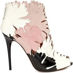 Alexander McQueen Lotus Flower Appliqué Peep-toe Bootie ($500) ❤ liked on Polyvore featuring shoes, boots, ankle booties, heels, booties, alexander mcqueen, platform booties, platform ankle boots, peep toe bootie and high heel ankle boots