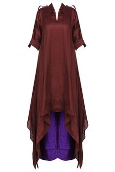 Priyanka Singh Wine Asymmetrical Kurta with Purple Palazzo Pants