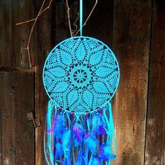 Turquoise blue dream catcher Crochet dream catcher Lace dream catcher Bohemian…