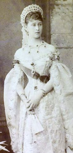 Grand Duchess Elizabeth Feodorovna (she is 21 years old) in her Russian Court dress. 1885.