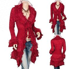 Trendy Ruffles Lace Tiered Hem Button Up Cardigan Long Sweater Jacket