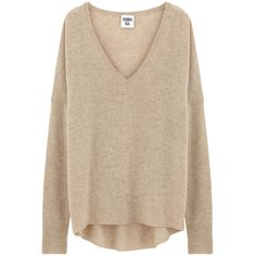 DONNA IDA Lauren V-Neck Cashmere Knit - Make Hay ($225) ❤ liked on Polyvore featuring tops, sweaters, make hay, pink long sleeve top, v neck tops, long sleeve v neck sweater, loose long sleeve tops and loose fitting tops