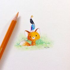 """Little fox and birds today ! 😀 I used colored pencils on Canson Imagine paper. Next time I will post a work in progress of a drawing with Copic markers. 🙂 Do not forget to activate the """"notification of publications"""" option (three small dots next to my name in the top right) 😊 #illustration #drawing #instaart #art #colorful #coloredpencil #childrenillustration #best_of_illustrations #fox #cute #birds #cuteanimals #whimsyillos #doodle #sketch"""