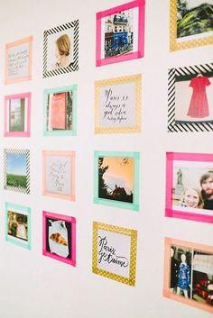 マスキングテープを直接壁に貼ってフレームのように。カラフルな色で作ると、ポップで明るい空間になってGOOD。