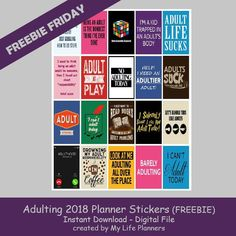 Free Printable Adulting 2018 Planner Stickers from My Life Planners