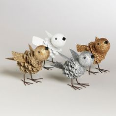 White, Silver, Copper and Gold Pinecone Birds eclectic holiday decorations
