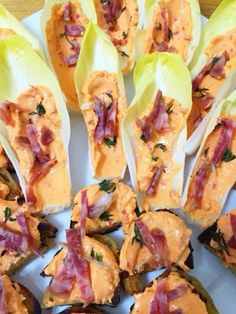 Roasted Red Pepper Spread & Chorizo on Crostini or Endive Spears
