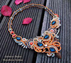"""Naszyjnik/kolia sutasz (soutache)  """"Sunset"""" w Galeria Bajka Soutache Jewelry na DaWanda.com"""