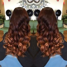 Brown to red to copper ombre. Jordan you are the best hair colorist ever ever.