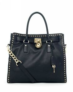 Michael Kors Hamilton Large Tote Black Leather with Golden Studded Trim