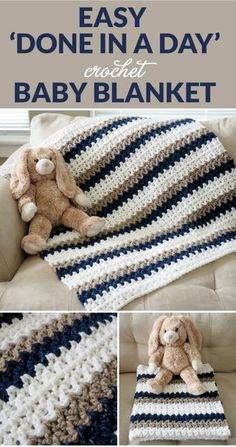 "blanket Easy 'Done in a Day' Crochet Baby Blanket - Dabbles & Babbles The ""Done in a Day"" crochet blanket pattern is perfect if you don't know how to crochet a blanket. This easy crochet baby blanket is super fast to make. Crochet Baby Blanket Free Pattern, Crochet Baby Blanket Beginner, Easy Baby Blanket, Crocheted Baby Blankets, Crocheted Baby Afghans, Simple Crochet Blanket, Size Of Baby Blanket, Diy Baby Blankets, Knitting Baby Blankets"