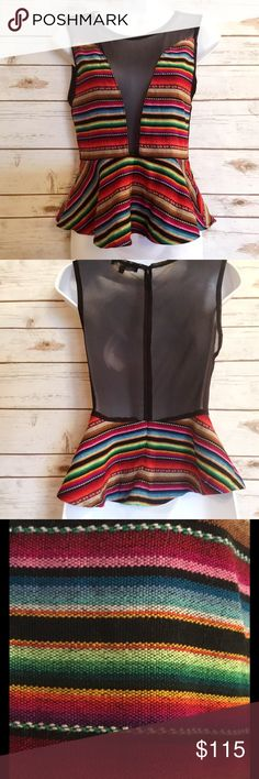For Love and Lemons Lulu Striped Peplum Top Has mesh accent panels in front and a mesh back with zipper. Absolutely adorable with jeans shorts. Size M, measures 14 inches across from armpit to armpit and 20.5 inches in length. For Love and Lemons Tops