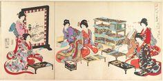 1895 - Chikanobu, Toyohara - Poem Game - Ladies at Chiyoda Castle - Chiyoda Castle (Album of Women) - Metropolitan Museum of Art