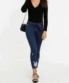 Calça Jeans Moletom Feminina Com Bolso Bordado no Atacado