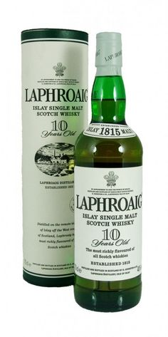 "Laphroaig 10 Year Old is an all-malt Scotch Whisky from the remote island of Islay in the Western Isles of Scotland. Laphroaig, pronounced ""La-froyg"", is a Gaelic word meaning ""the beautiful hollow by the broad bay"""