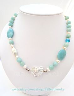 Amazonite Necklace Freshwater Pearl Necklace Mint by ESBeadworks