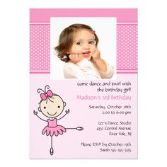 Ballerina Dance Photo Birthday Invitation