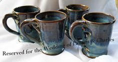Set of 4 Blue Mugs Pottery Wheel thrown by rikablue on Etsy, $60.00