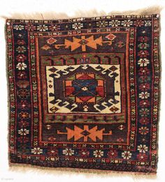 "antique kurdish bagface. Good design. Good pile. All good colors, and yes I believe the orange is fine. 19th c. 25"" x 25"""