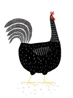 Black hen illustration by Jim Field Fuchs Illustration, Chicken Illustration, Children's Book Illustration, Art Watercolor, Chicken Art, Chicken Drawing, Arte Popular, Art Plastique, Bird Art