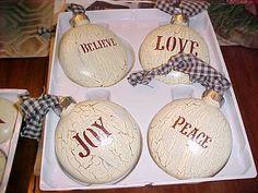 PRIMITIVE ~~~ GLASS ORNAMENTS LARGE ROUNDS WITH LOVE,BELIEVE,JOY AND PEACE #NaivePrimitive
