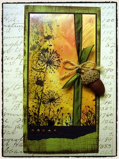 """o.k. I don't have this stamp but I'm going to get it!!        From Tim Holtz: (December 18, 2009 ) """"i incorporated the new dandelion frame (CG153) which is a hero arts cling stamp to create 4 cards with the same layout, but with entirely different seasonal themes."""""""