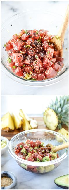Ahi Poke Bowls with Pineapple and Avocado. A lovely light meal! by @howsweeteats I howsweeteats.com