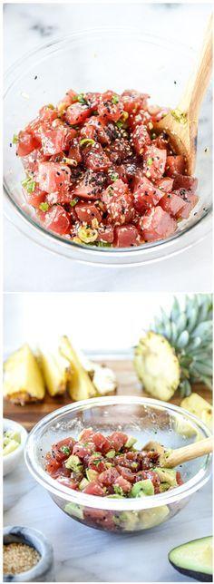 Ahi Poke Bowls with Pineapple and Avocado. A lovely light meal! by @howsweeteats I howsweeteats.com