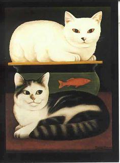 Martin Leman British) - The Great Cat Maurice Careme, Gatos Cat, Frida Art, Cat Colors, Cat Drawing, Animal Paintings, Crazy Cats, Cool Cats, Cat Art