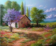 Random Tutorial and Ideas House Landscape, Landscape Art, Landscape Paintings, Pictures To Paint, Art Pictures, Watercolor Landscape, Watercolor Paintings, Acrylic Painting Canvas, Canvas Art