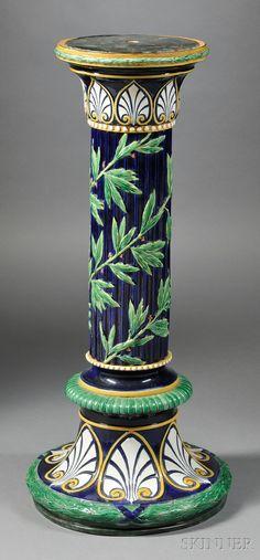 George Jones Majolica pedestal, late 19th c.