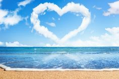 Blue Sky and White Clouds Love Heart Photography Backdrops Sea Beach Photo Backgrounds for Valentine's Day Studio Props Strand Wallpaper, Beach Wallpaper, Love Wallpaper, Wallpaper Awesome, Love Backgrounds, Love Pictures, Beach Pictures, Free Beach, Frases