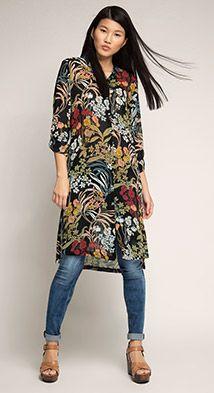 Esprit / Transparante lange blouse, chiffon