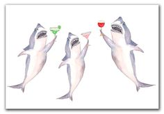 Perfect card for Shark Week pool party invitations